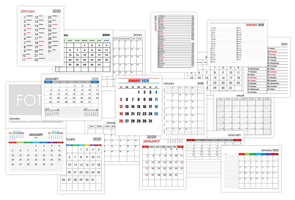 Calendar for January 2020