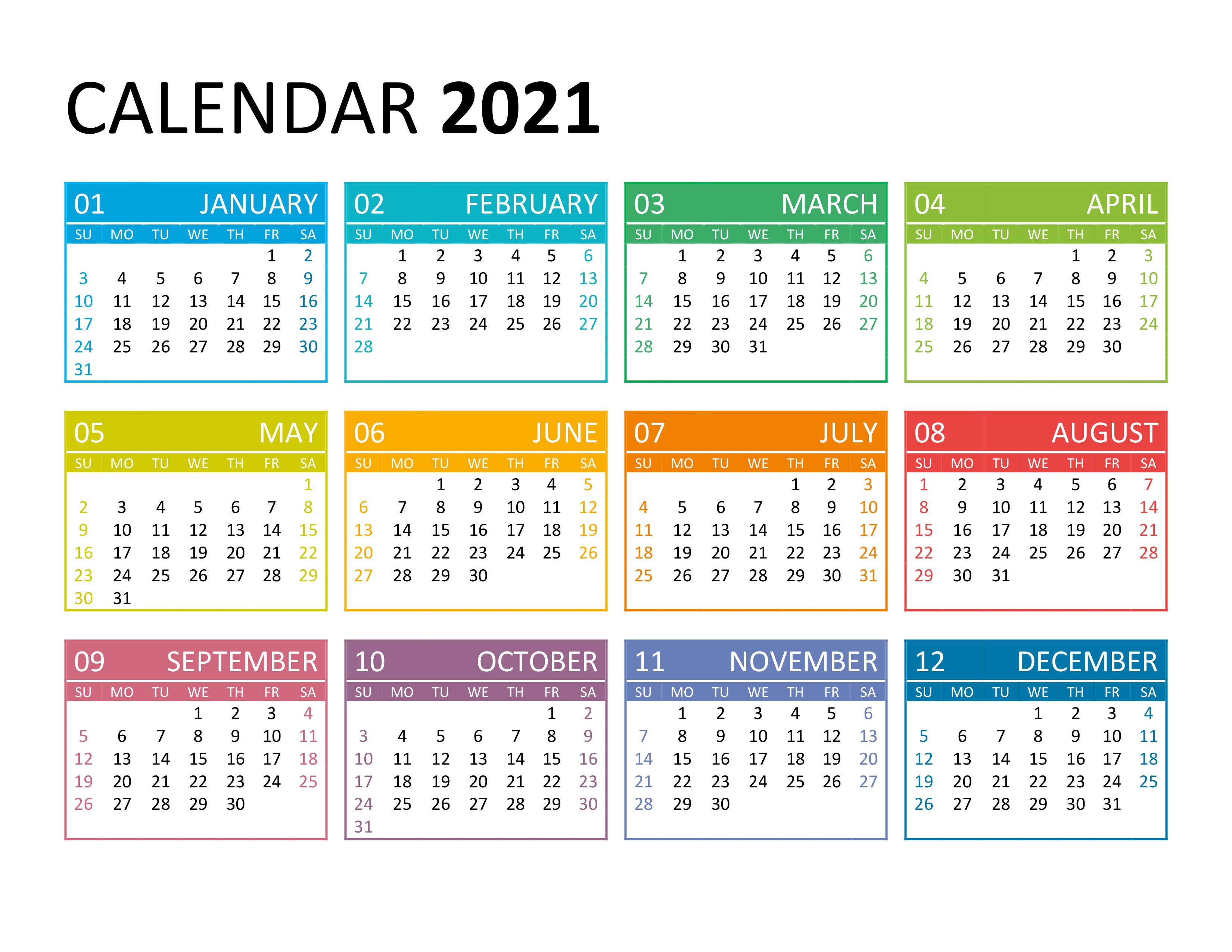 Yearly calendar 2021 - free-calendar.su