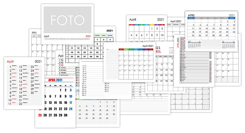 Calendar for April 2021