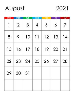 Calendar for August 2021 - free-calendar.su