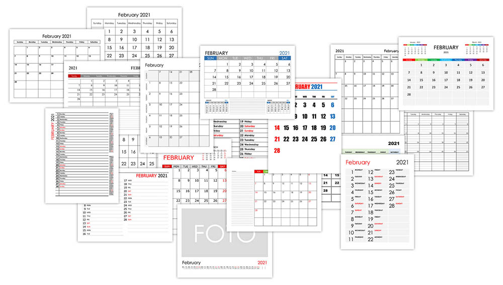 Calendar for February 2021
