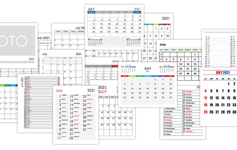Calendar for July 2021