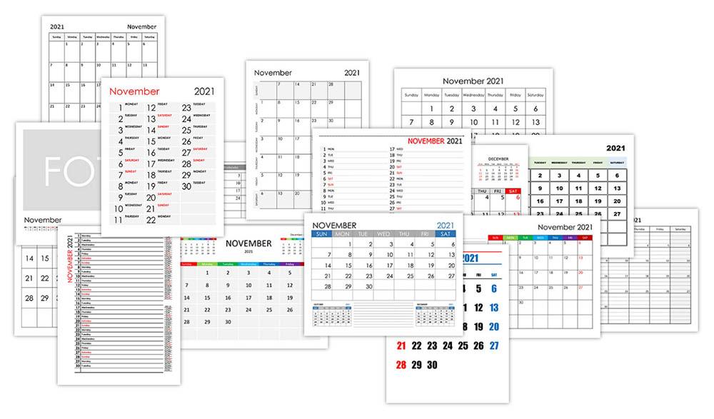 Calendar for November 2021