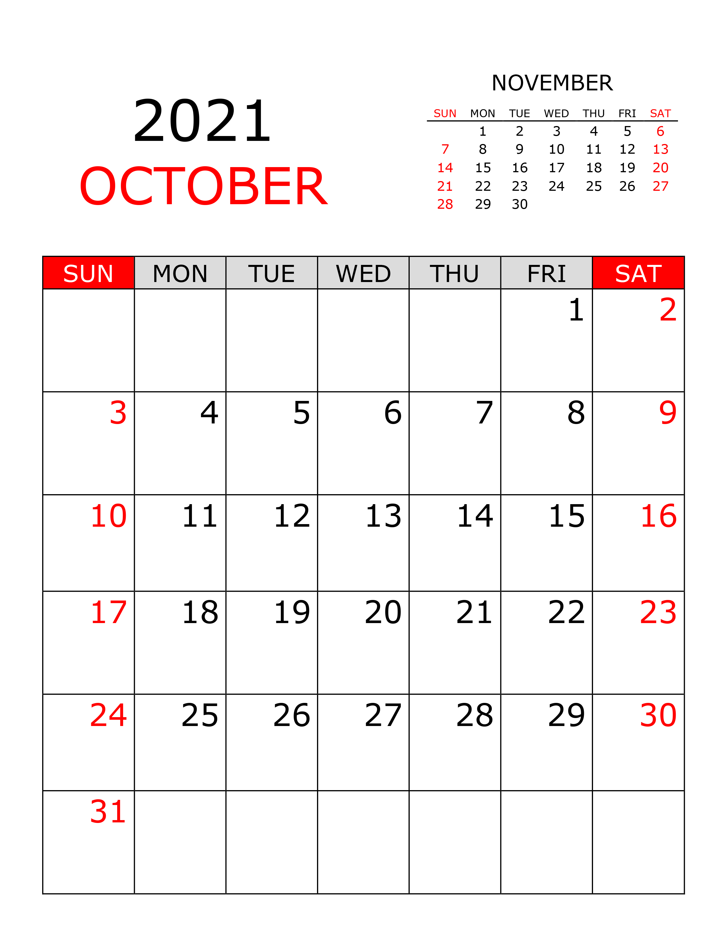 Calendar for October 2021 - free-calendar.su