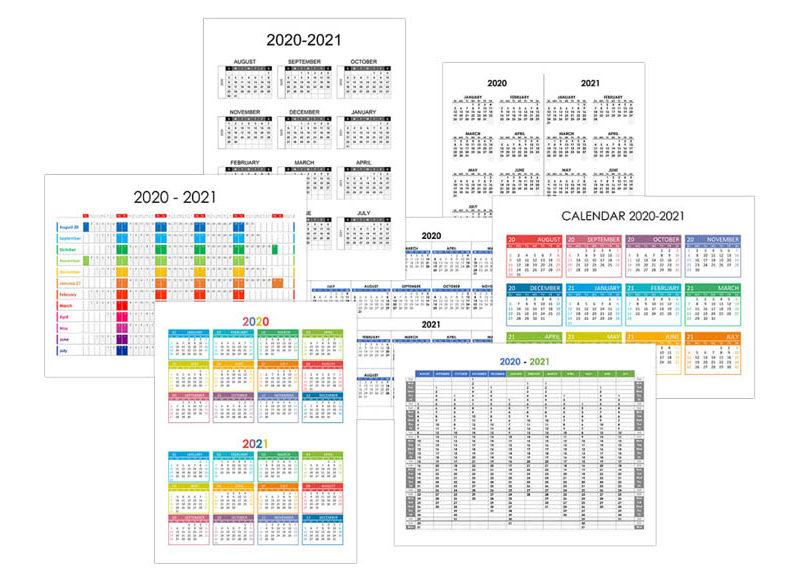 Yearly calendar 2020-2021