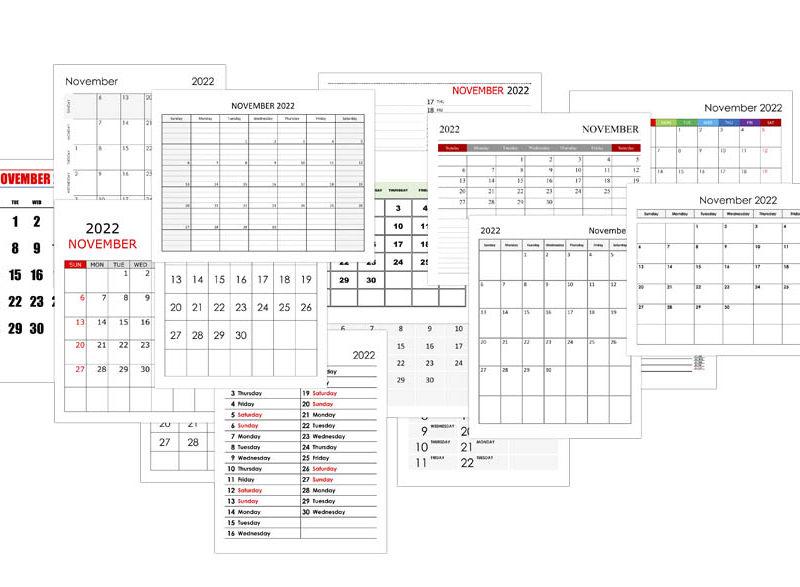 Calendar for November 2022