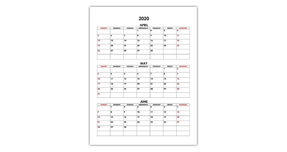 Calendar for April, May, June 2020