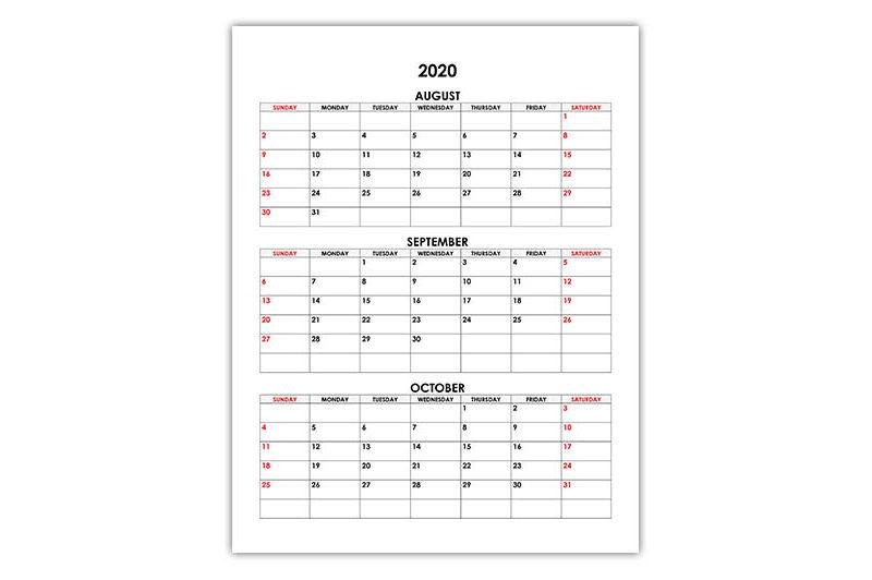 Calendar for August, September, October 2020