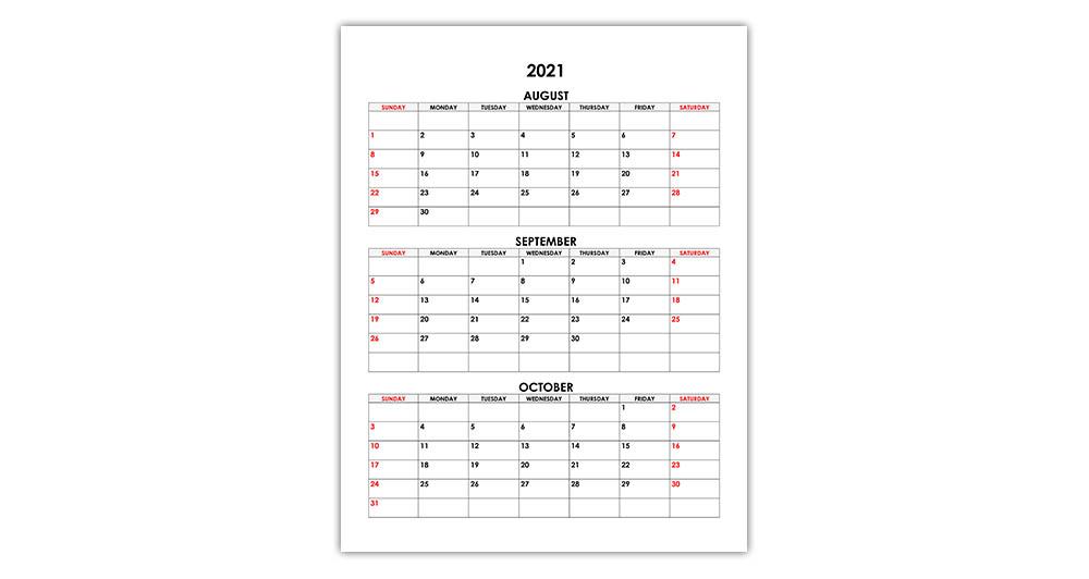 Calendar for August, September, October 2021