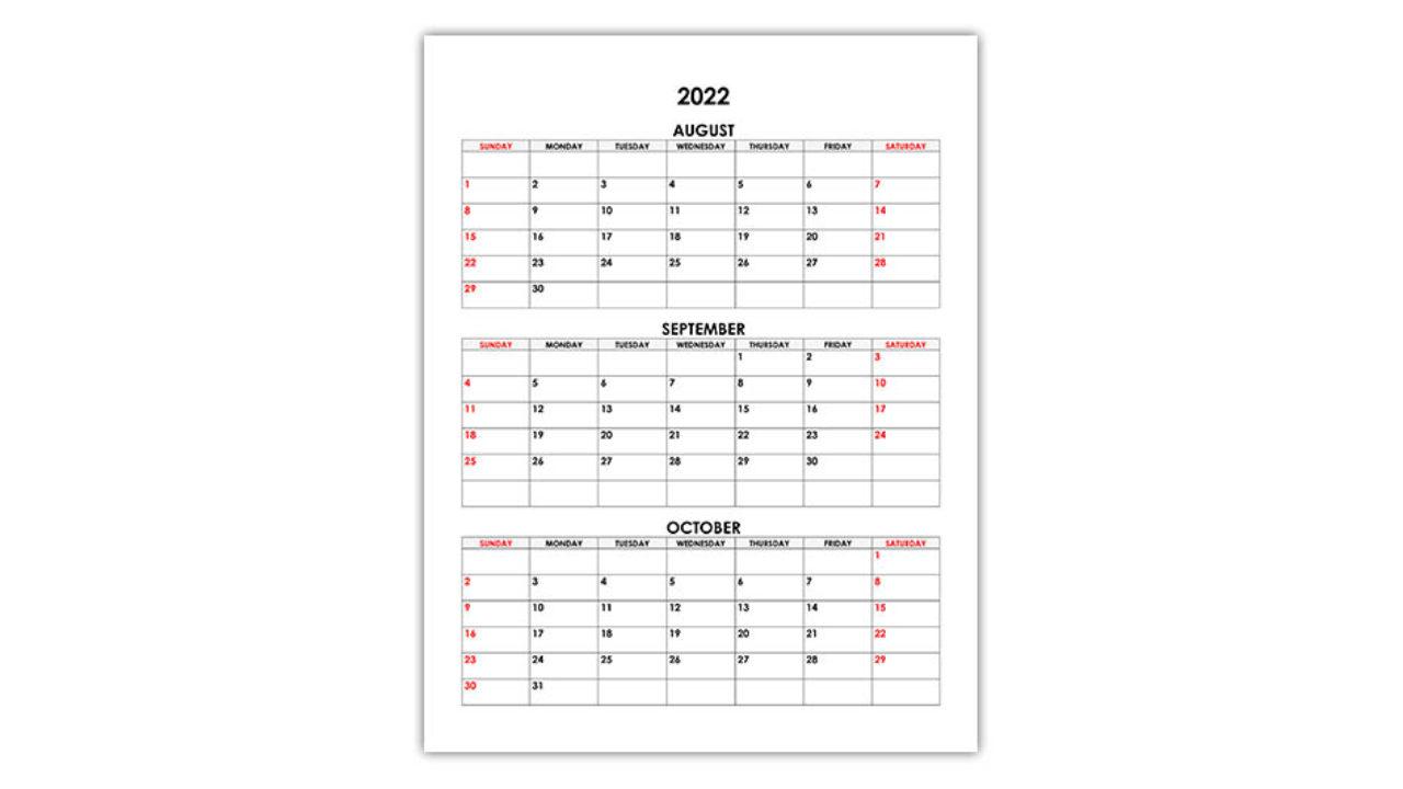 Calendar September October 2022.Calendar For August September October 2022 Free Calendar Su