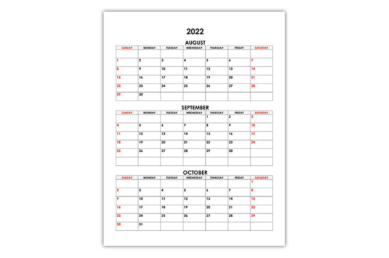 Calendar for August, September, October 2022