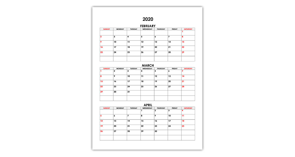 Calendar for February, March, April 2020