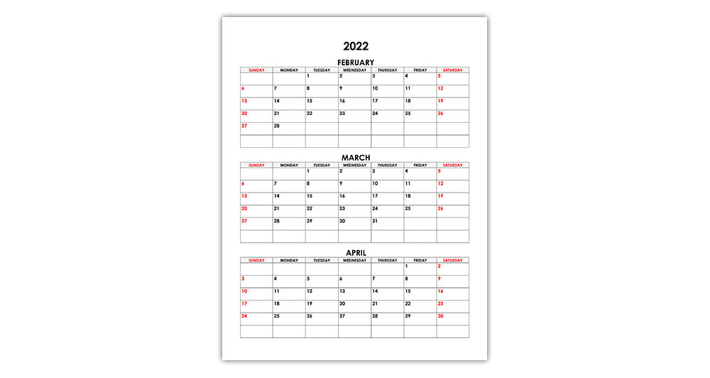 Calendar for February, March, April 2022