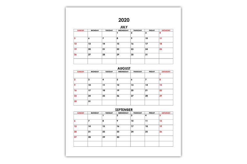 Calendar for July, August, September 2020