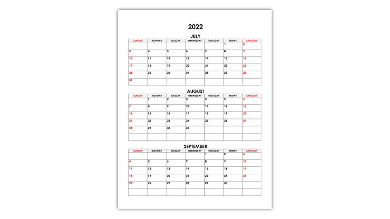 Aug Sept 2022 Calendar.Calendar For July August September 2022 Free Calendar Su