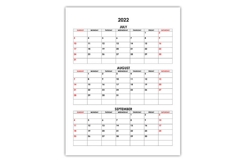 Calendar for July, August, September 2022