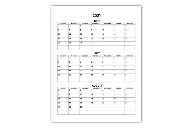 Calendar for June, July, August 2021