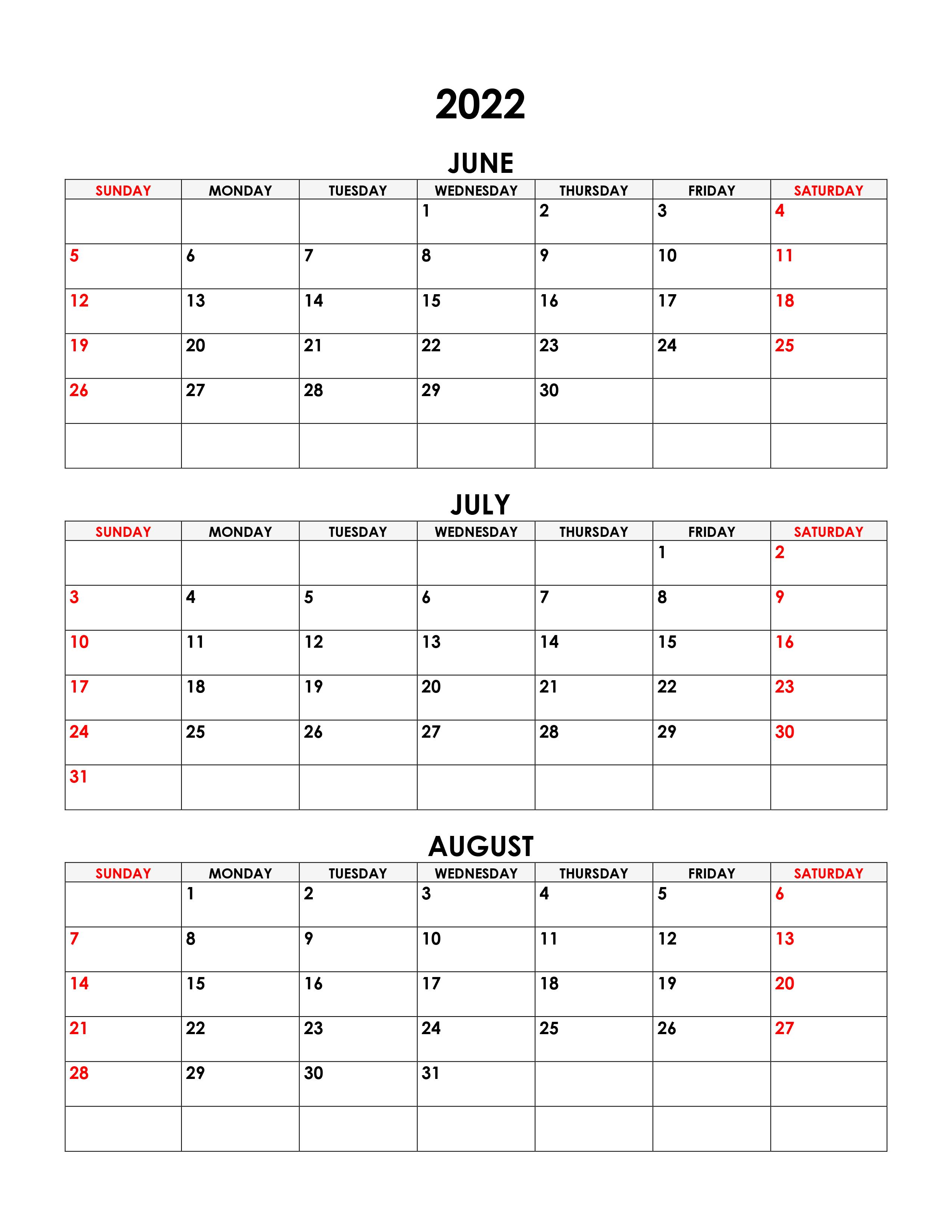 Calendar July August 2022.Calendar For June July August 2022 Free Calendar Su