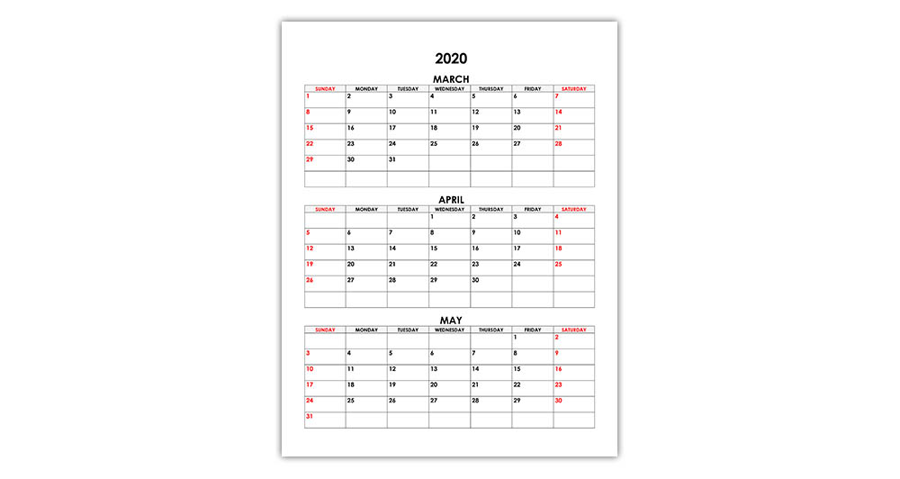Calendar for March, April, May 2020