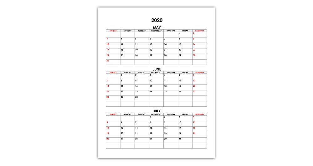 Calendar for May, June, July 2020