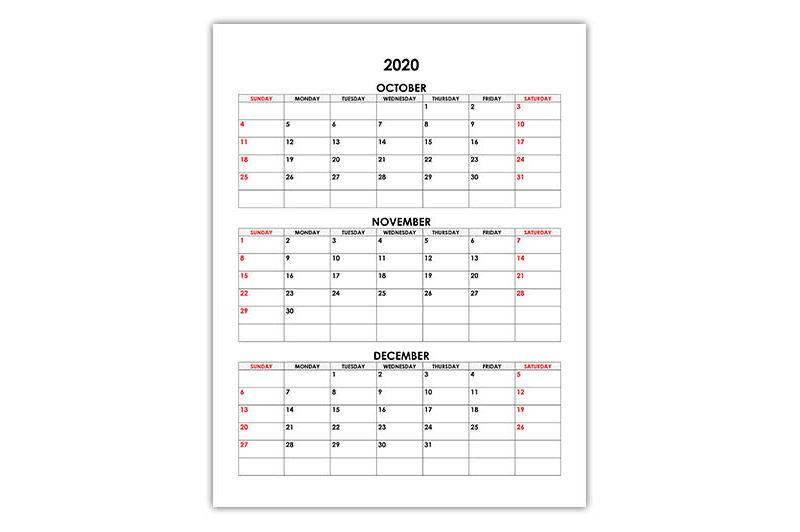 Calendar for October, November, December 2020