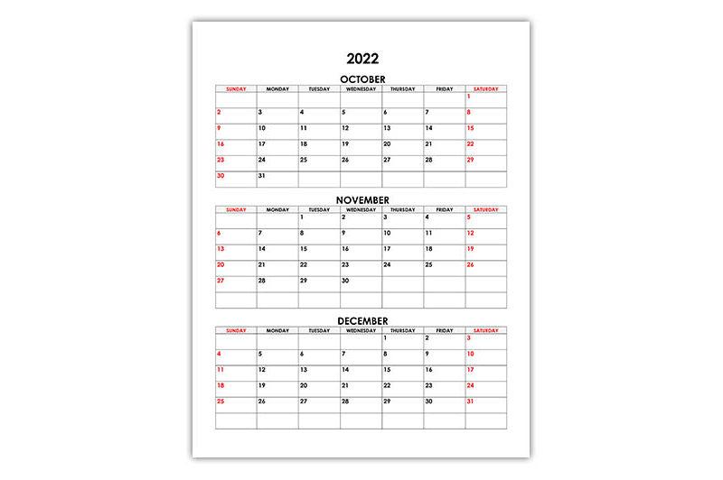 Calendar for October, November, December 2022