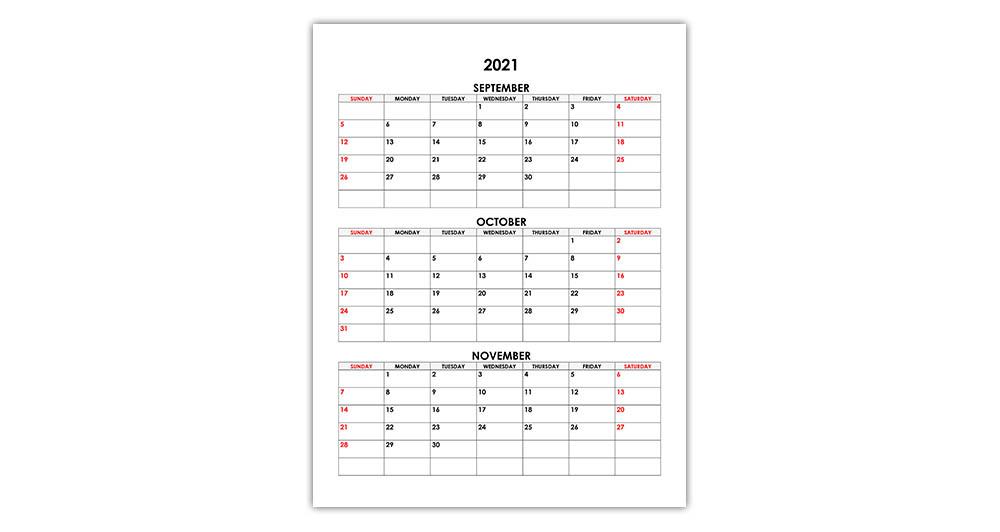 Calendar for September, October, November 2021
