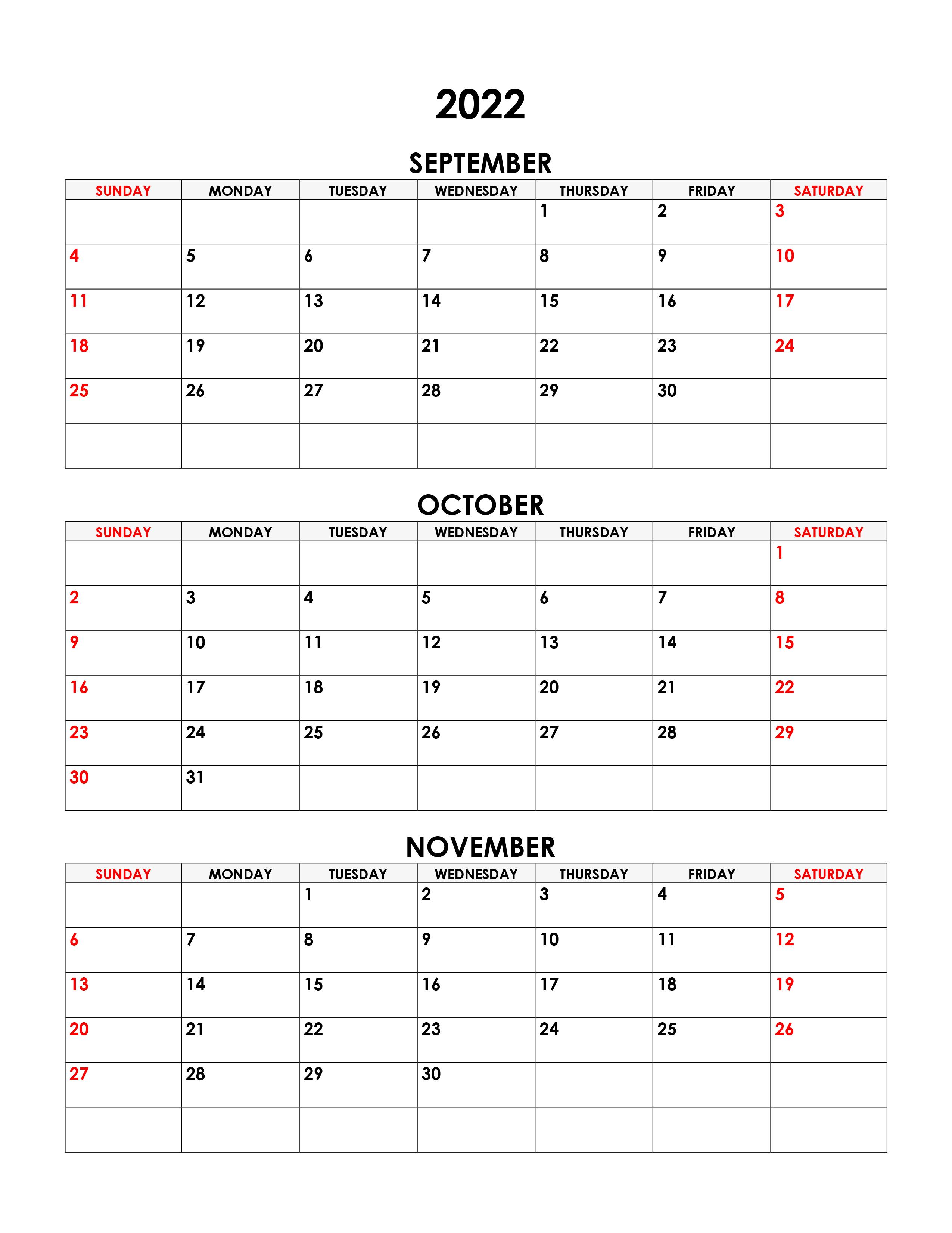 Calendar October November 2022.Calendar For September October November 2022 Free Calendar Su