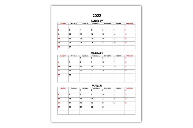 Calendar for January, February, March 2022