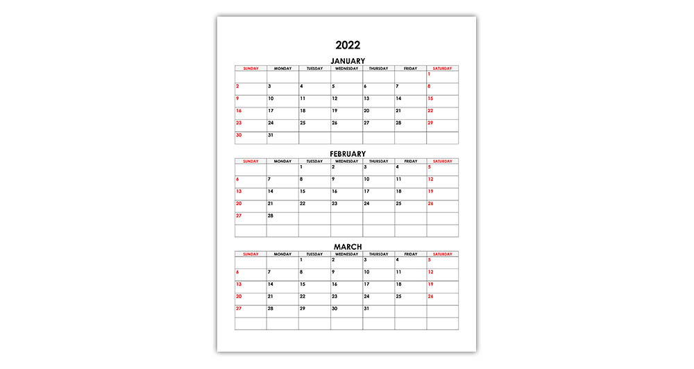 Calendar for January, February, March 2022