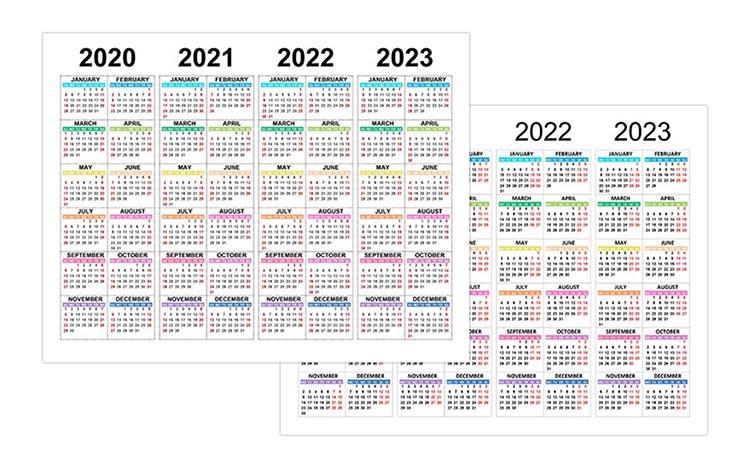 Calendar for 2020, 2021, 2022, 2023