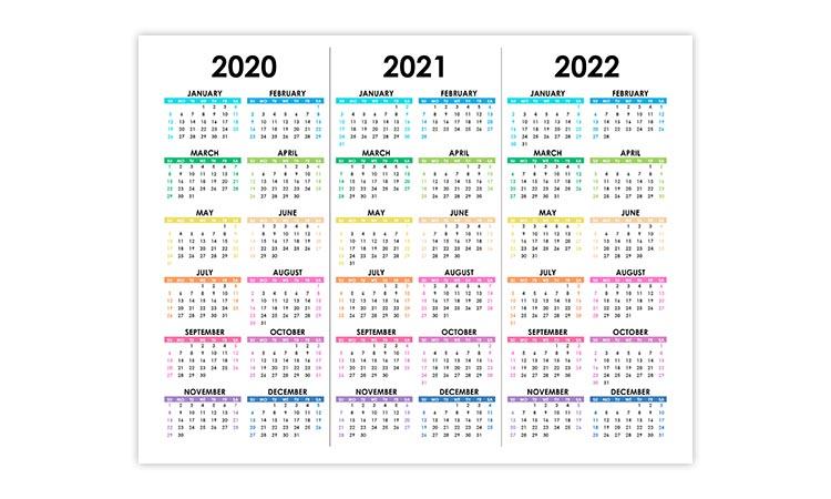 Calendar for 2020, 2021, 2022