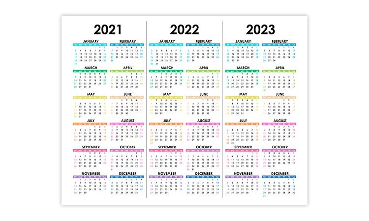 Calendar for 2021, 2022, 2023