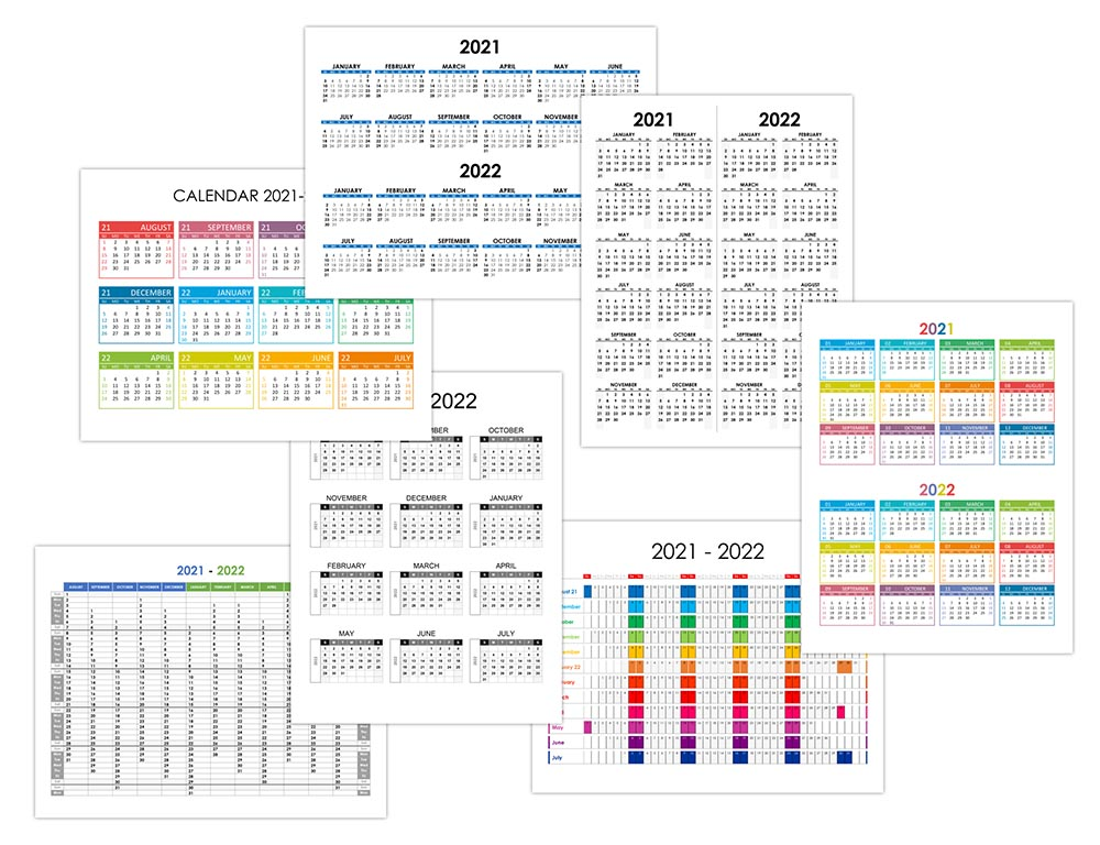 Yearly calendar 2021-2022